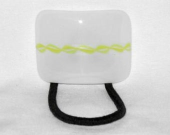 Glass Ponytail Holder,White and Yellow Fused Glass, Handmade Hair Accessories