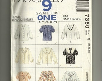 McCall's Misses' Blouse Pattern 7360