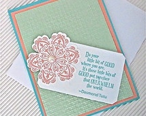 Inspiration friendship card stamped Desmond Tutu do your little bit good turquoise pistachio pearl handmade stationery greeting home living