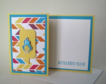 A little birdie told me card handmade embellished stamped fancy fun z-fold engagement baby birthday congratulations cute