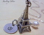Eiffel Tower Charm Necklace, Personalized Hand Stamped Initial Necklace, Monogrammed Travel Gift, Sterling Silver Eiffel Tower Necklace