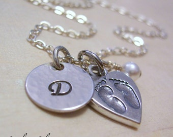 Personalized Mother Necklace, Hand Stamped Sterling Silver Initial Jewelry, New Mom Necklace, Baby Feet in Heart Charm