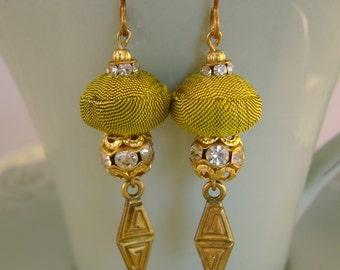 Sophie - Vintage Silk Fabric Beads Rhinestones Recycled Repurposed Jewelry Earrings