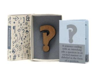 Punctuation, Miniature Book, Matchbox art, Typography book, Interrobang, writer gift idea, office gift, word lover present, gcp4