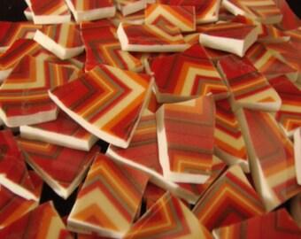 100 Crazy Zig Zag Chevron Stripe Red Yellow Mosaic Tiles Mix Broken Plate Art Hand Cut Mix Assortment
