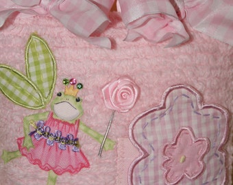 Boutique Chenille Tooth Fairy Pillow Junie Frog Princess Gingham