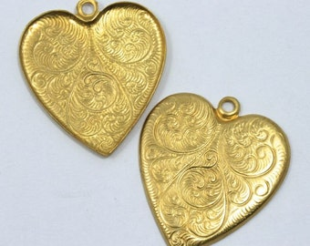 25mm Raw Brass Swirl Heart Charm #1314