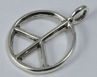 Sterling Silver 16mm Peace Sign Charm  #BSJ046