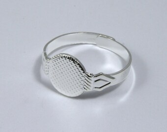 Adjustable Silver Ring Base w/ 10mm Pad #MRB010