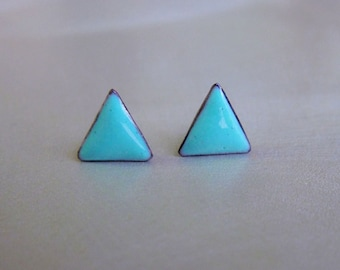 Tiny Triangle Stud Post Earrings, Robins Egg Blue Kiln-fired Glass Enamel and Sterling Silver