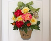 Spring Wreath - Summer Wreath - Paris - Burlap - Peonies - Roses - Snap Dragons - Wall Pocket Vase - Front Door Decor