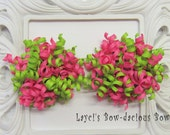 Pink Limeaid Petite Korker Set, apple green, hot pink, girls, toddler,hair accessories, birthday bows,baby korkers, International Shippin