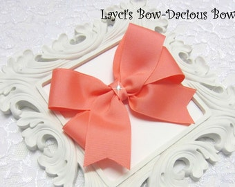 CORAL Tails Down Hair Bow, choose your size, small, medium, large, extra large, coral hair bow, international shipping
