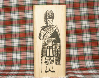 Scottish Highland Drum Major Rubber Stamp Scotland Tartan #302