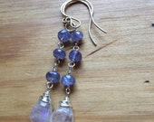 Moonstone and Tanzanite earrings