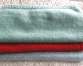 Cashmere piece, red cashmere, aqua cashmere, blue cashmere, 6 x 7 inches each piece