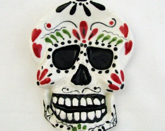 Ceramic Day of The Dead Sugar Skull Tea Bag Holder Small Ceramic Spoon Rest