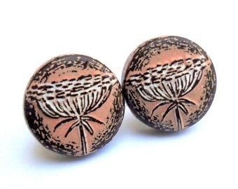 Queen Anne's Lace Stud Earrings - Sterling Silver Posts - Peach and White - Spring flower jewelry