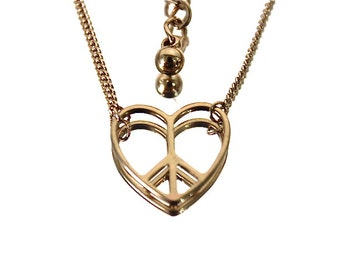 Gold Filled Heart Pendant Necklace Love and Peace Adjustable Chain