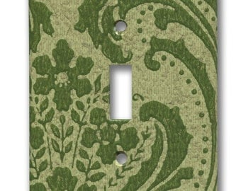 Green Damask Floral Swirl 1960's Vintage Wallpaper Single Switch Plate