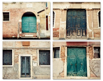 door photography set, venice italy photography, architecture, blue decor, travel photograph, collection, Doors of Venice