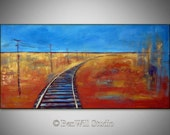 ORIGINAL Landscape Oil Painting - RAILROAD TRACKS - Yellow Field and Blue Sky - Large Painting on Canvas 48x24  by BenWill