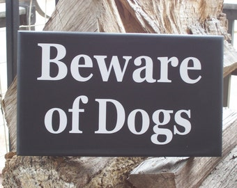 Beware of Dogs Wood Vinyl Sign French Farmhouse Style Door Porch Fence Yard Gate Sign Hanger Warning Security K9 Pet Do Not Enter Private