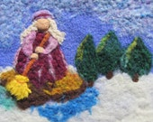 Mrs. Thaw Sweeping away the Snow and melting the Ice felted tapestry