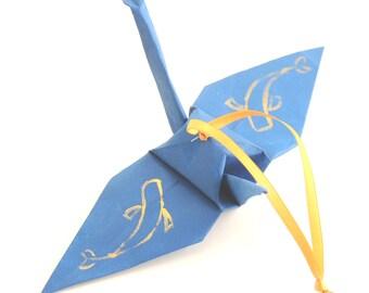 Koi, Japanese Carp Fish, Gold on Steel Blue Origami Crane Ornament Home Decor