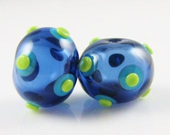 Sapphire with Spots and Dots Hollow Lampwork Glass Bead Pairs