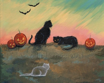 Ghost Cat Fantasy Art Original Cat Halloween Archival Giclee Print 12 x 12
