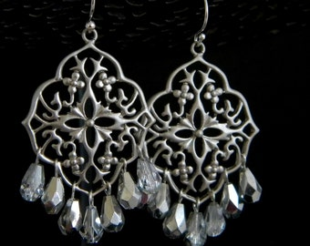 Silver Crystal Teardrop Filigree Chandelier Earrings