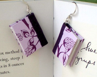 Mini Book Earrings, Purple Clover Book Earrings- silver