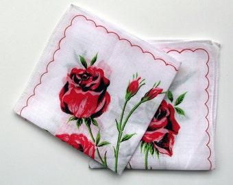Pair of Vintage Floral Cotton Lawn Handkerchiefs - Dainty Ladies' Hanky