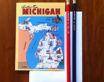 Greetings From Michigan 1970's Card -Blank Inside
