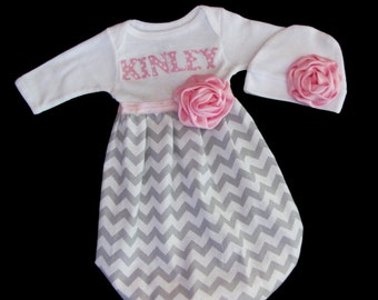 BOUTIQUE Personalized Baby GOWN... Chevron Infant layette... and beanie hat.. grey and white fabric with pink  polka dots accent