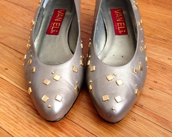 Vintage Silver Studded Leather Wedge Heels - size 7.5M - Fits Small