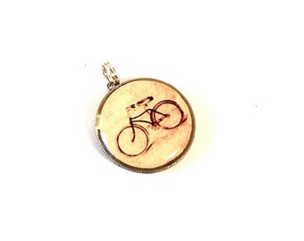 Bicycle Charm - Dime coin Bicycle Charm Pendant - Bike Pendant - snake Chain sold separately