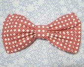 Red and White Rattan Polka Dot Old School Hairbow Barrette Big Large Hair Bow