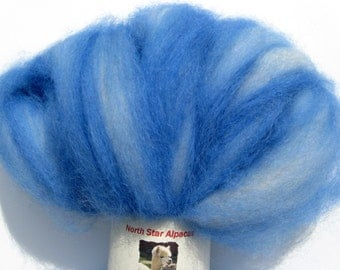 Alpaca Roving - Blue and White Swirled Wool to Spin or Felt - 4 ounces