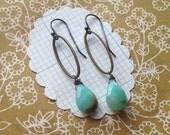imogene earrings - brass ovals sterling silver hooks chartreuse
