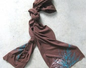 SALE - ETSY - American Apparel Chocolate Jersey Extra Long Scarf -  Screen printed teal and white grasses