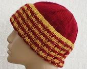 Watch cap, crimson red, mustard gold stripes, ribbed beanie hat, men's hat, knit hat, toque, longshoremen's hat, chemo cap, ski, snowboard