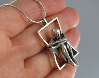IN A FRAME - designer silver pendant - Ready to ship