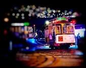 San Francisco Trolley Photography - Late Night Transportation - Night, Dreamy, City, California, Tourism, Travel