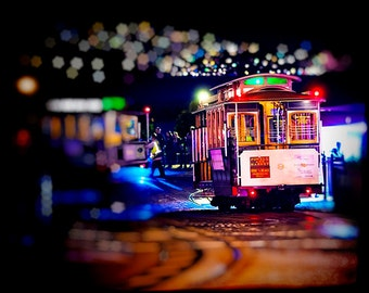 San Francisco Trolley Photography - Late Night Transportation - Night, Dreamy, City, California, Tourism, Travel