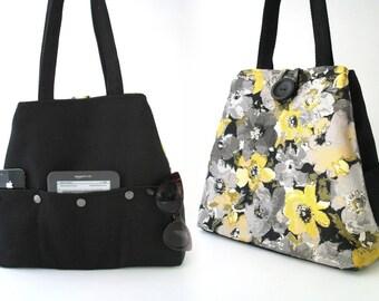 womens handbag, black bag, floral  tote bag,  floral tote bag ,diaper bag, shoulder bag, day bag, travel bag