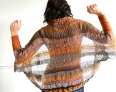 Hand-knitted Cardigan light in brown, beige, orange shades- Kate