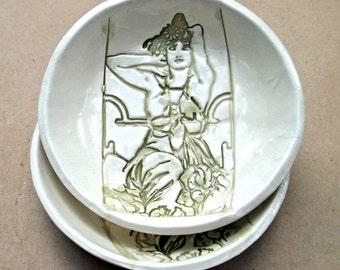 Ceramic Prep Bowls Art Nouveau