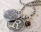Silver  Monogram Necklace - Eco Friendly Fine Silver - Two  Initial Pendants - Blood Red Garnet - Rustic - Wax Seal Pendant
